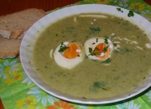 Ein Teller mit grüner Suppe
